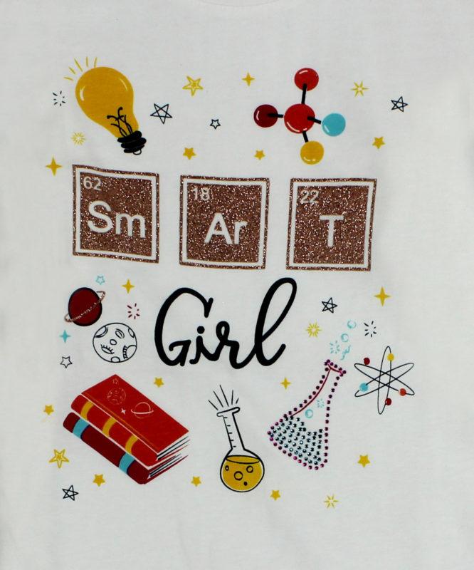 smart girl white kids top