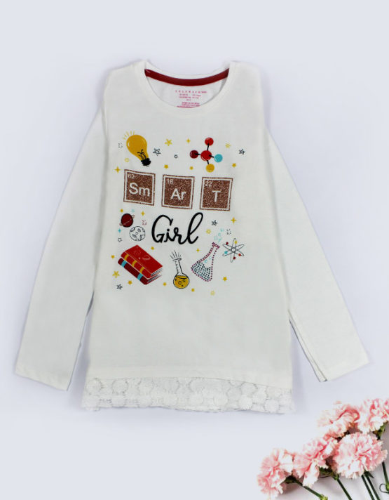 smart girl white kids top
