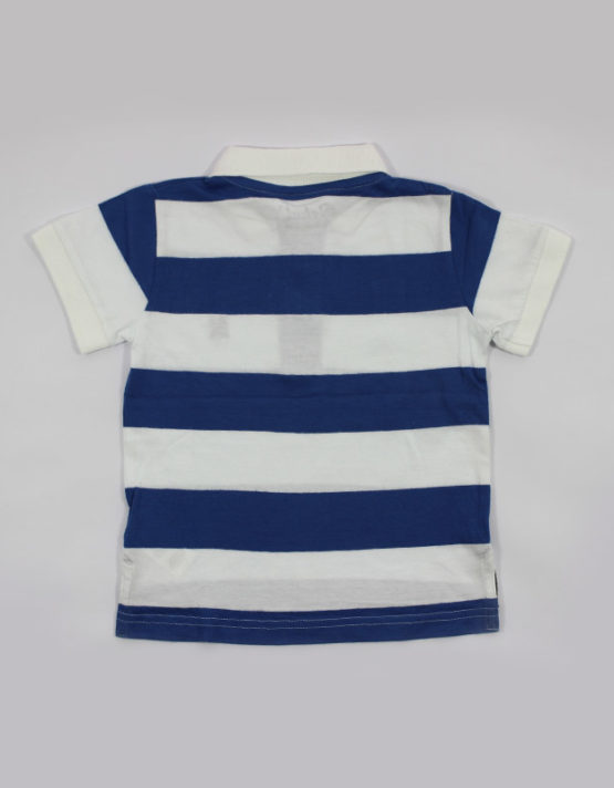 white and blue strips kids tshirt