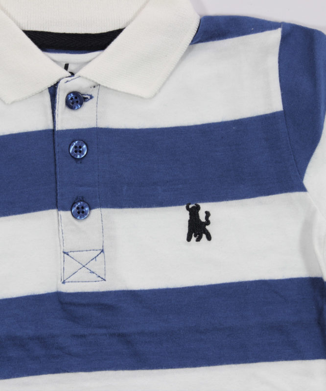 white and blue strips kids tshirt