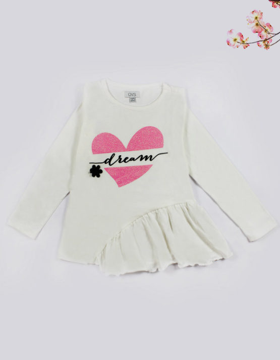 white kids top with pink heart