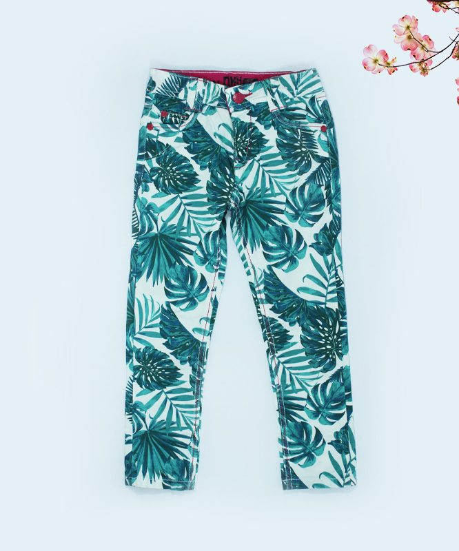 Nky green foliage on white kids pants - featured
