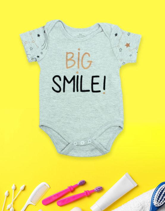 Big Smile Grey Baby Rompers