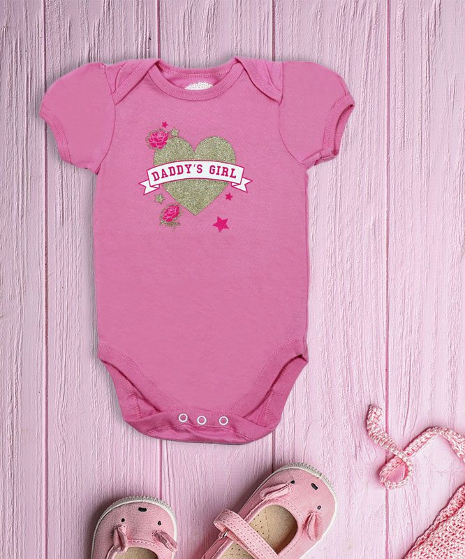 daddy's girl with heart pink baby romper