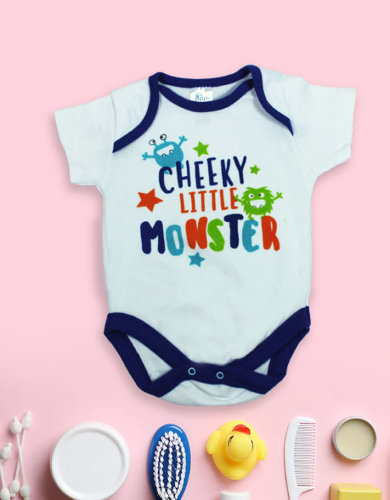 Cheeky Little Monster White Baby Rompers