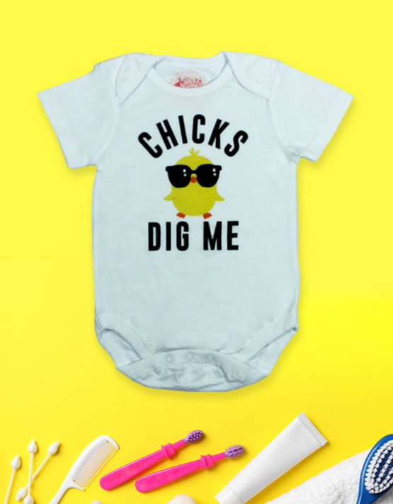 Chicks Dig me White Baby Rompers