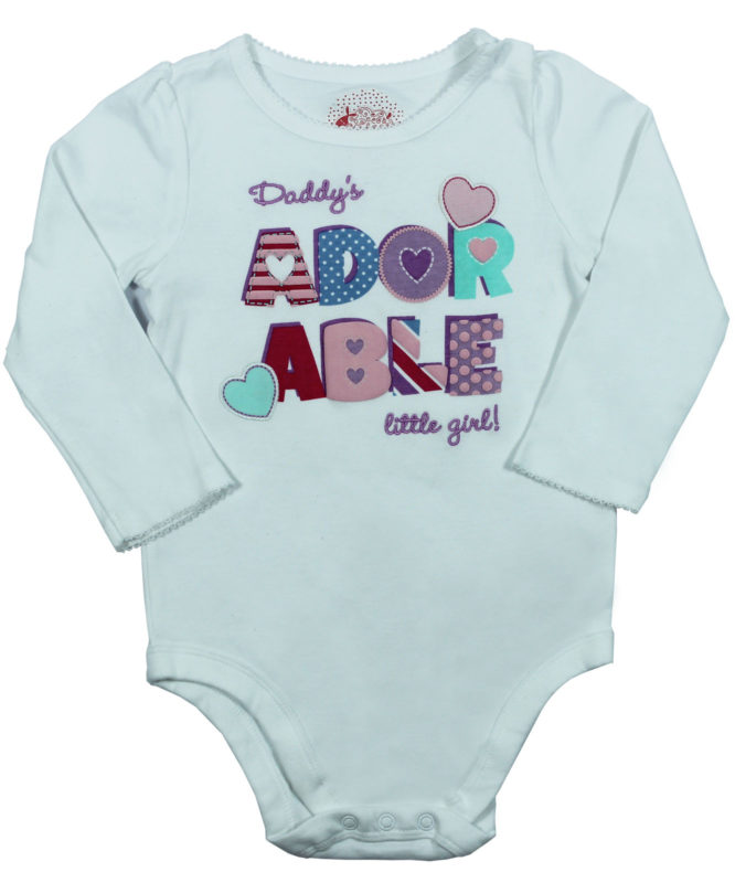 Daddy's Adorable Little Girl White Baby Rompers