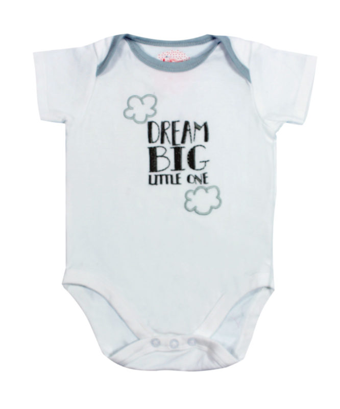 Dream Big Little One White Baby Rompers