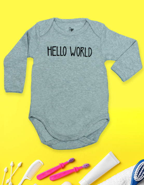Hello World Grey baby Rompers