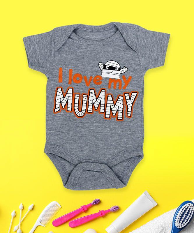 I Love Mummy Grey baby Rompers