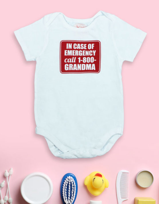In case of Emergency call 1800 Grandma White Baby Rompers