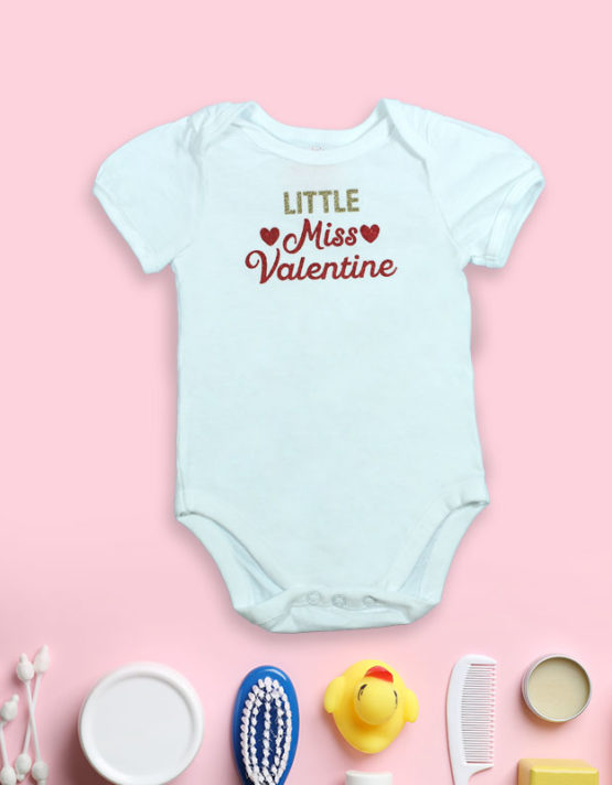 Little Miss Valentine White baby Rompers