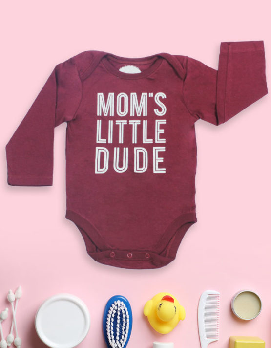 Mom's Little Dude Maroon Baby Rompers