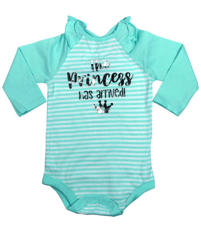 The Princess Has Arrived Cyan Baby Rompers