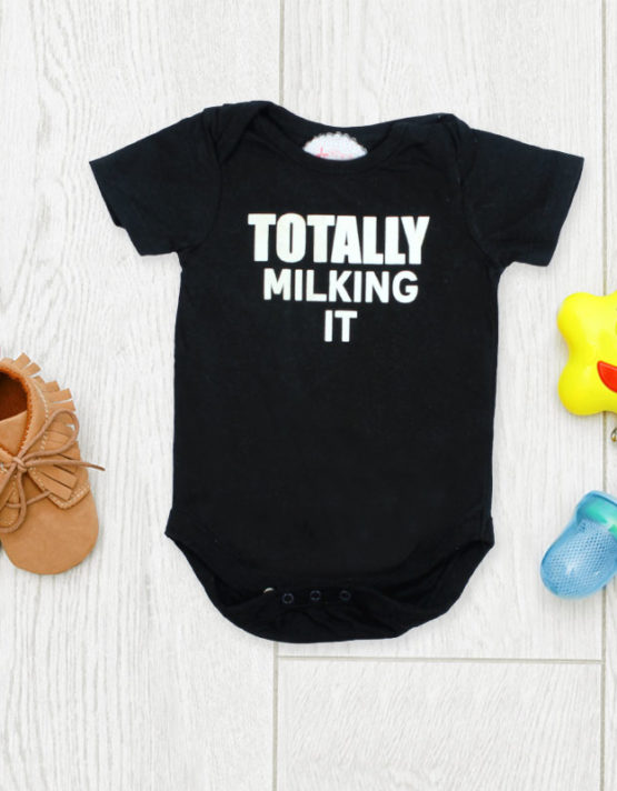 Totally Milking It Black Baby Rompers