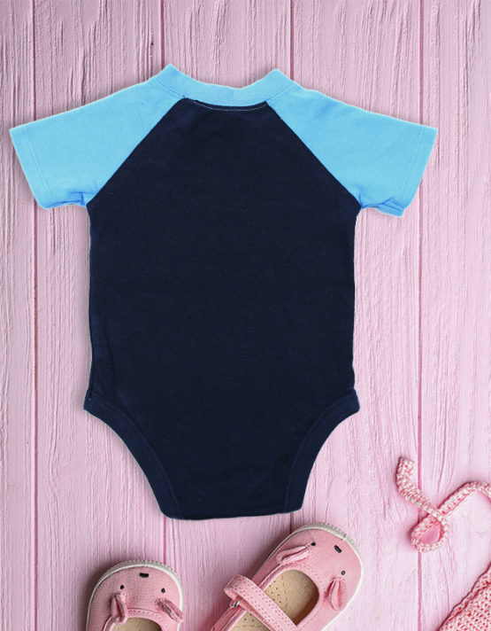 All Stars Dino on Black and Blue Baby Rompers-big