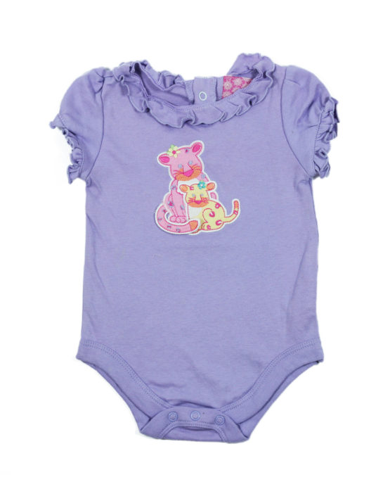 Cute Mother and Daughter Cheetha on Purple Baby Rompers