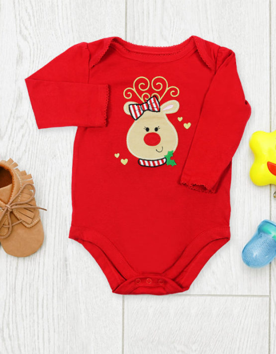 Cute Piggy on Red Baby Rompers