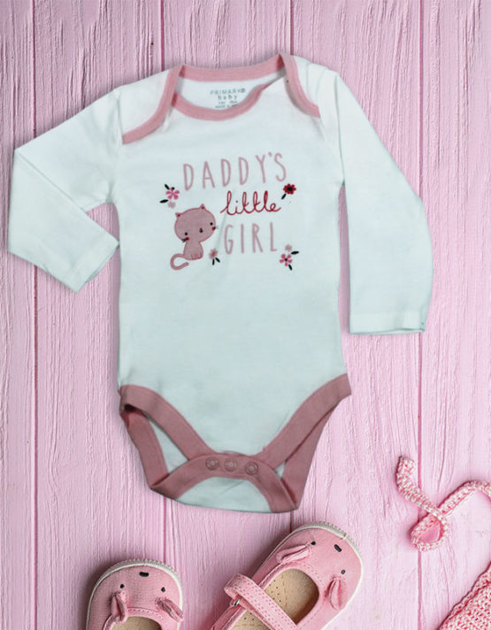 Daddy's Little Girl White Baby Rompers