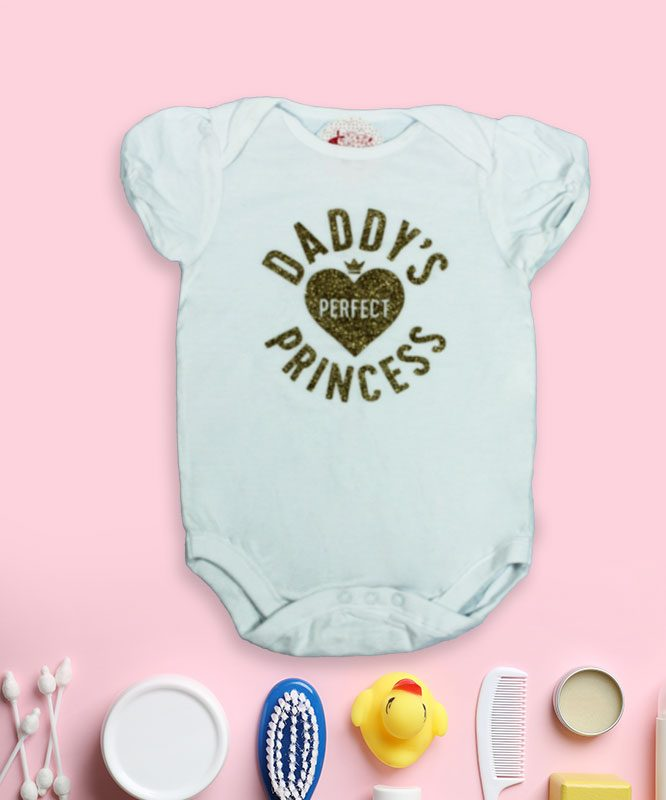 Daddy's Perfect Princess White Baby Rompers