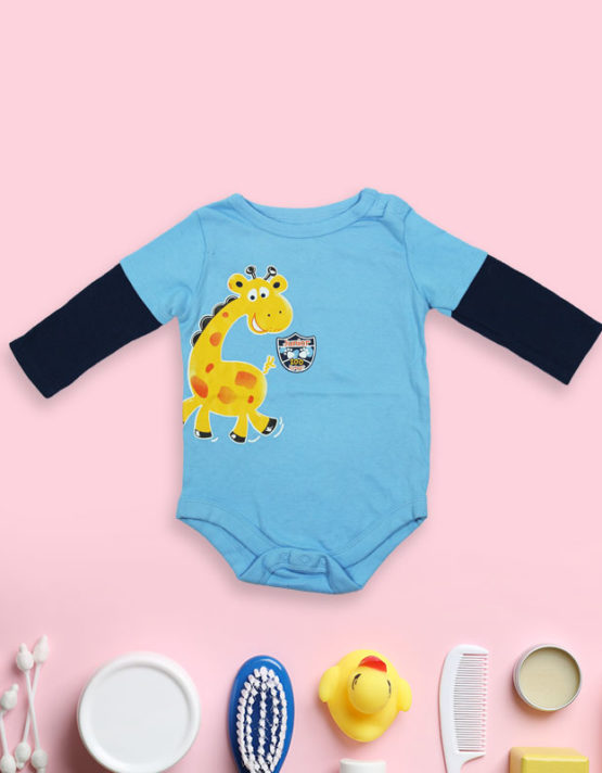 Giraffy on Blue and Black Baby Rompers