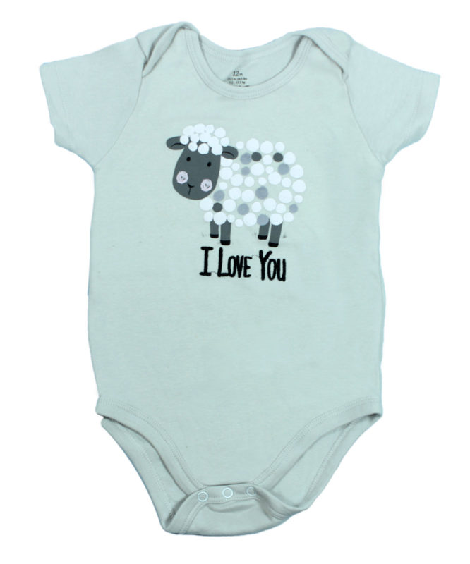I love you sheep on Grey Baby Rompers