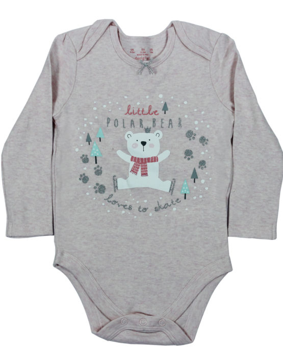 Little Polar Bear Love to Skate Grey Baby Rompers