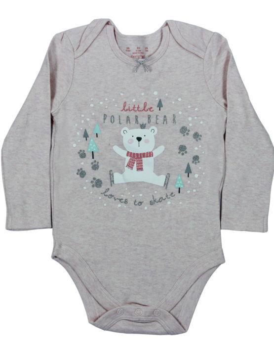 Little Polar Bear Love to Skate Grey Baby Rompers