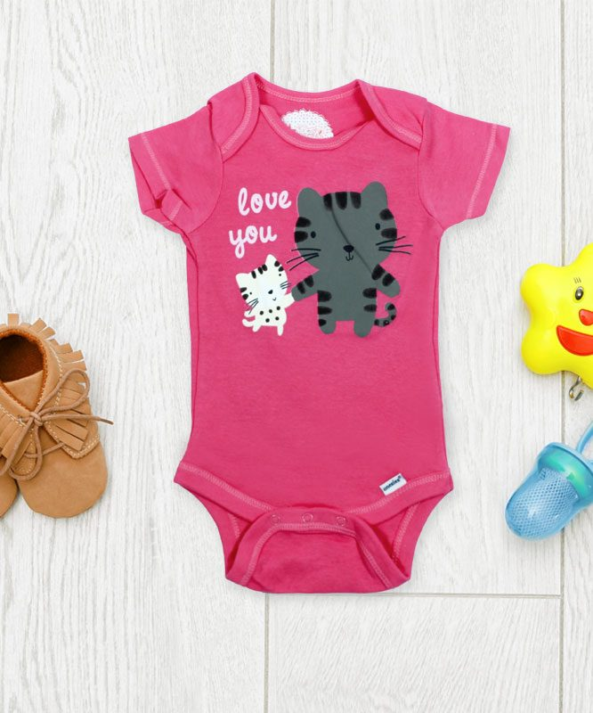 Love you Cats on Pink Baby Rompers