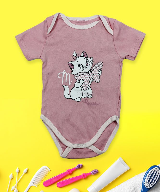 M Precious Cat on Pink Baby Rompers