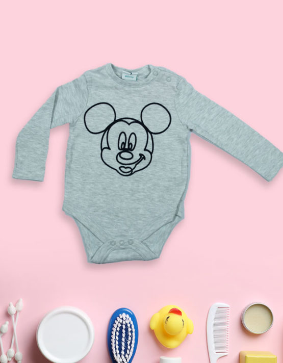 Mickey on Grey Baby Rompers