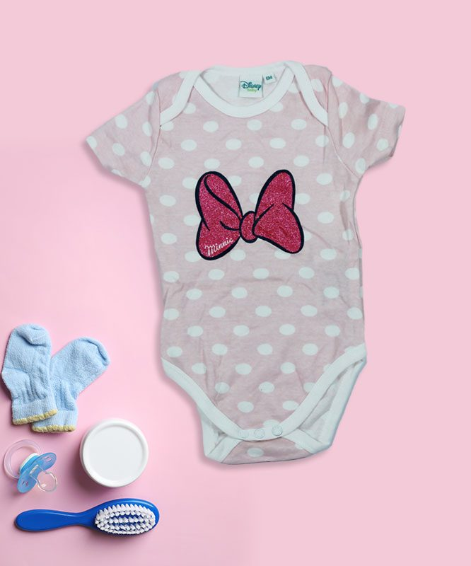 Minnie Ribbon Pink Baby Rompers