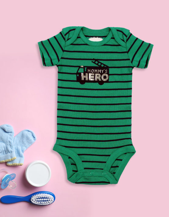 Mommy's Hero Green Stripes Baby Rompers