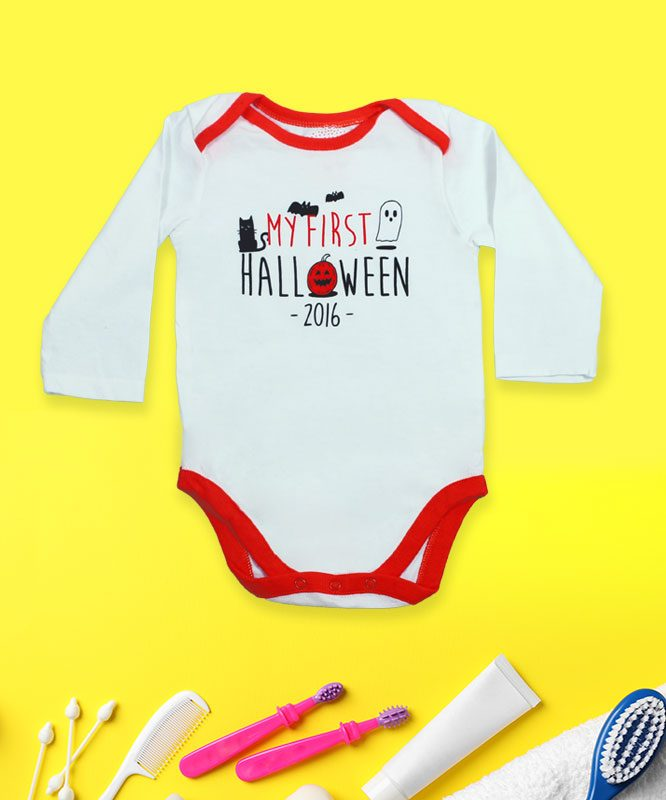 My First Halloween White Baby Rompers