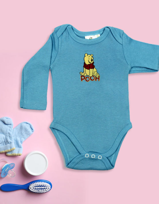Pooh on Blue Baby Rompers
