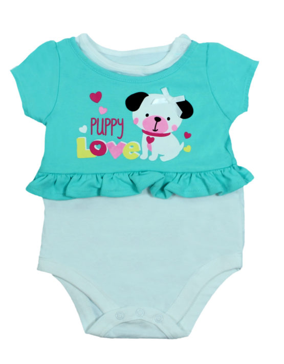 Puppy Love Cyan Baby Rompers