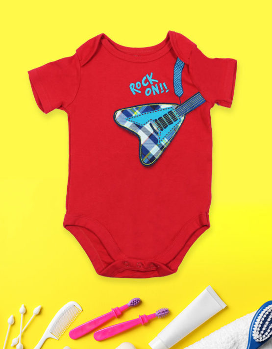 Rock on Red Baby Rompers