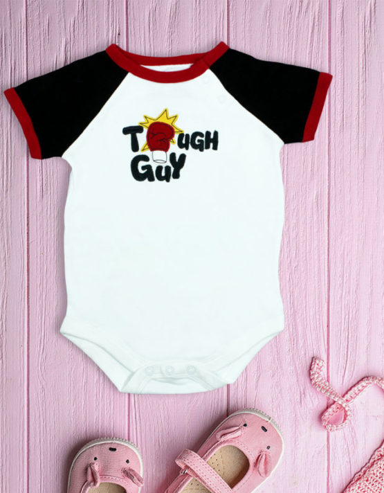 Tough Guy White and Black Baby Rompers