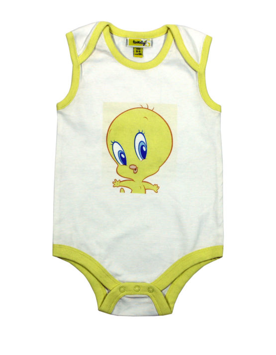 Tweety on White Baby Rompers