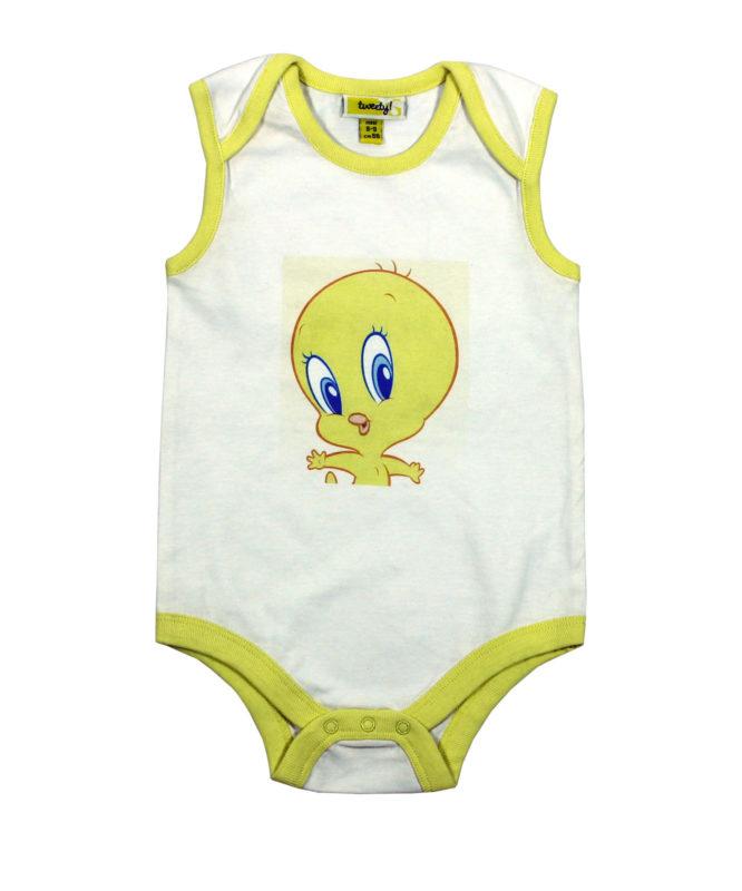 Tweety on White Baby Rompers