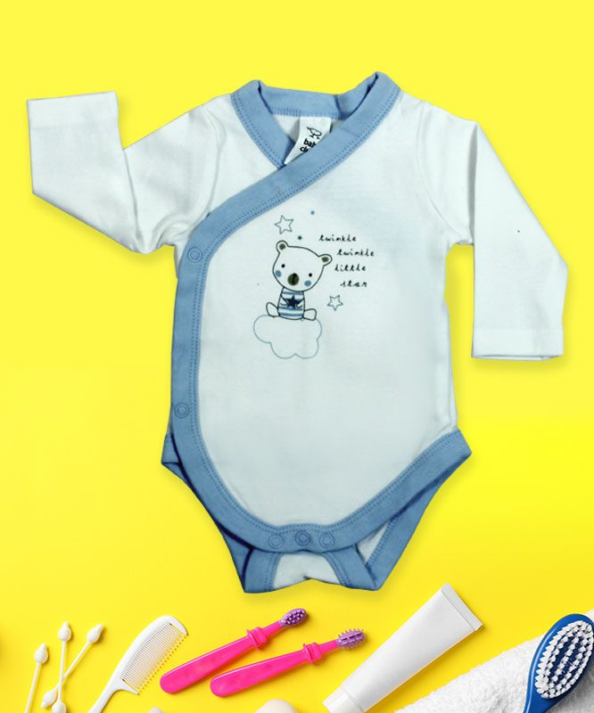 Twinkle Twinkle Little Star Bear on Cloud White Baby Rompers