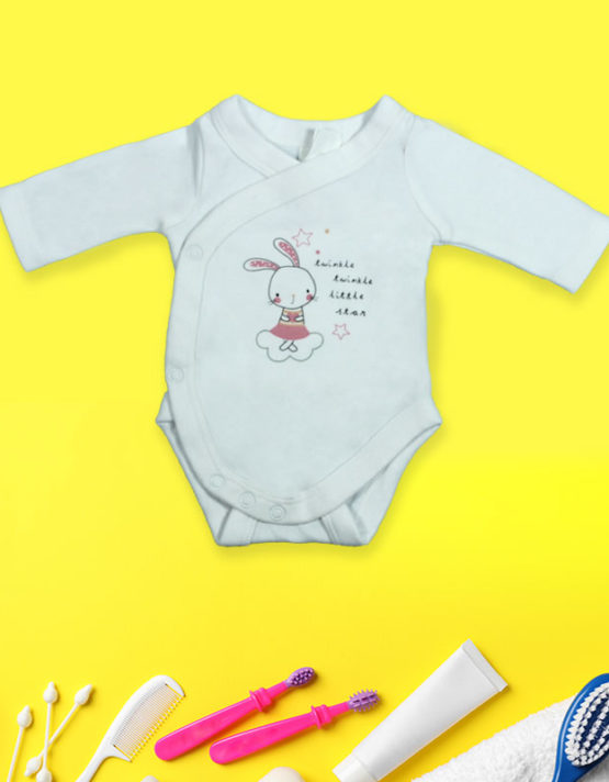 Twinkle Twinkle Little Star Bunny White Baby Rompers