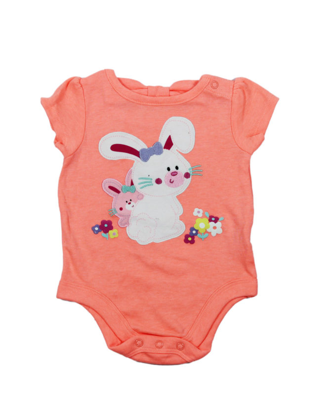Two Cute Bunnies on Peach Baby Rompers