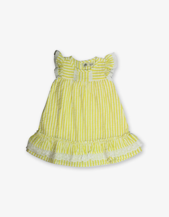 Lemon yellow stripes frock