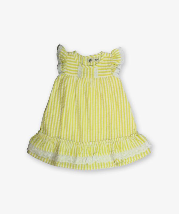 Lemon yellow stripes frock