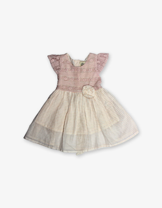 Pink stripes embroidery frock