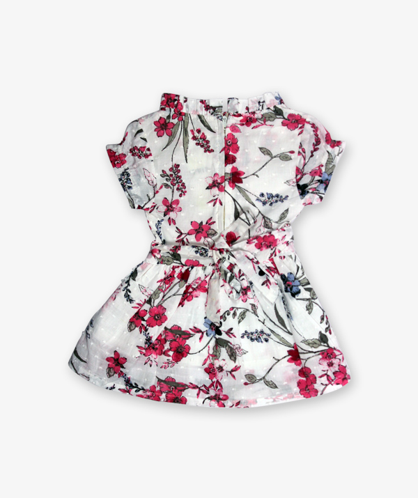 White and pink floral printed Frock