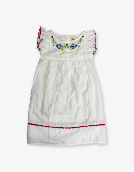 white embroidery baby frock