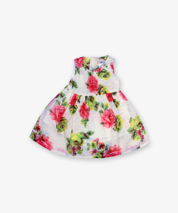 White pink floral printed Frock