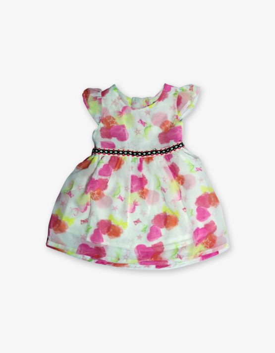 White pink heart printed frock